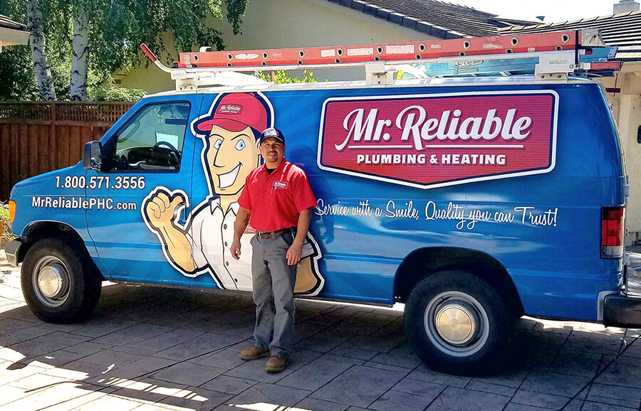 Mr. Reliable Plumbing & Heating company van